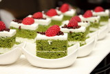 greentea cake with fresh raspberry poster