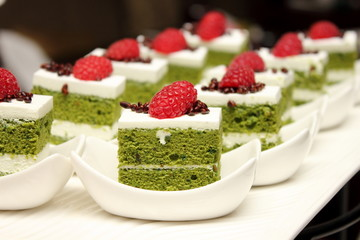 greentea cake with fresh raspberry