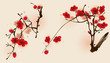 Plum blossom flowers in two different compositions.
