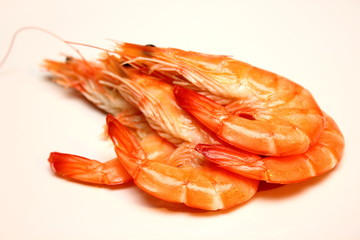 Boiled shrimp isolated on white background.