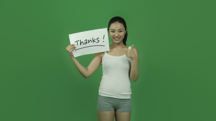 Asian sporty girl young adult isolated greenscreen green