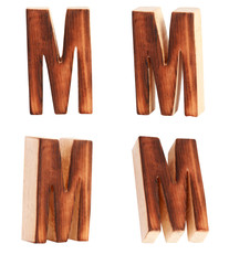 English alphabet  M - collage of 4 isolated vintage wood