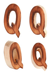 English alphabet  Q - collage of 4 isolated vintage wood