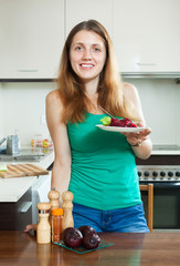 Girl in green with boiled beets