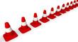 Оградительные (сигнальные) дорожные конусы в ряд