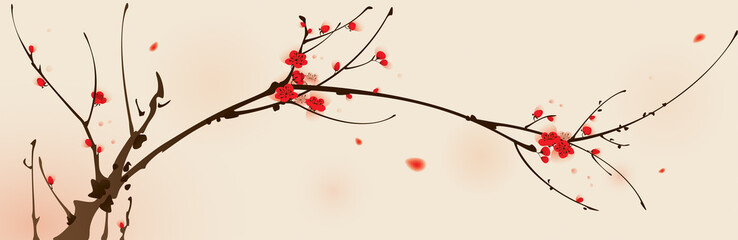 Oriental style painting, plum blossom in spring © ori-artiste