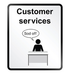 Monochrome comical customer services