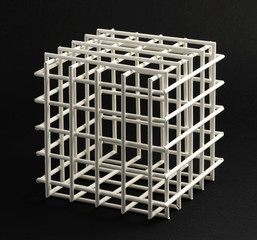 Lattice cube on a black background