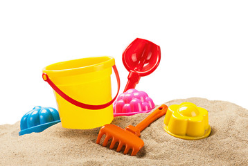 toys for sandbox isolated on white