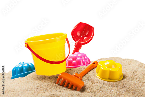 toys for sandbox isolated on white - 65614285