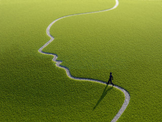 Walking on a face-shaped path
