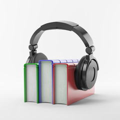 Books with a headphone set