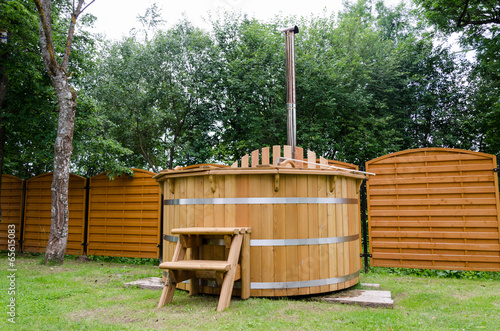 rural wooden water hot tub with stairs garden yard - 65615083
