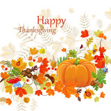 Fototapety Happy Thanksgiving Day celebration flyer, background with autumn