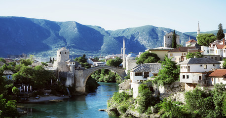 The cityscape with the old bridge, Mostar