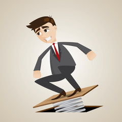 cartoon businessman jumping on springboard