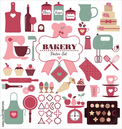 Bakery icons set. Vector elements for your design. - 65617296