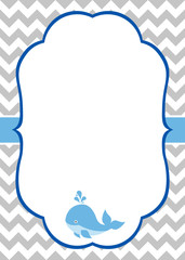 Baby boy invitation with whale