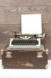 typewriter on wooden background