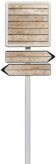panneau et double flèches de direction bois