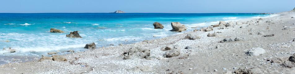 Lefkada coast summer beach panorama (Greece)