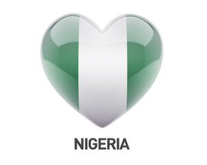 Nigeria Flag Heart Icon