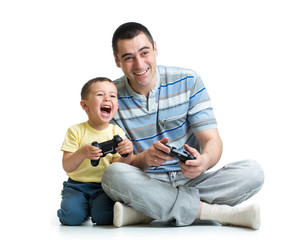 man and his son child play with a playstation together