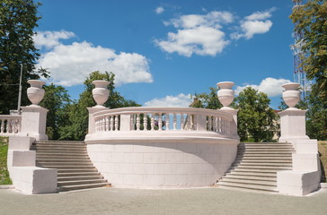 Beautiful staircase in the city park in Minsk