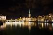 Münsterbrücke und Fraumünster in der Nacht - Zürich