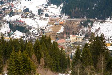 Ski resort town Bad Gastein in winter snowy mountain