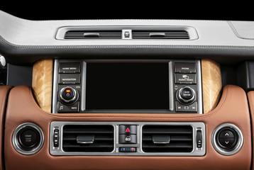 Panel of a modern car. Screen multimedia system.