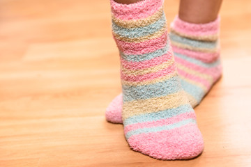 Close up of a colorful soft socks.