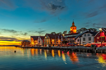 Stavanger at night - Charming town in the Norway.