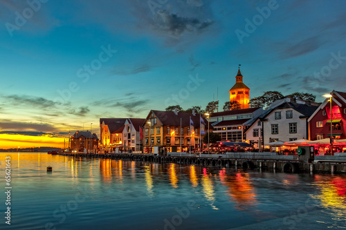 Fotobehang Noord Europa Stavanger at night - Charming town in the Norway.