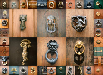 doorknobs of ancient doors in Rome, collection of beautiful vint