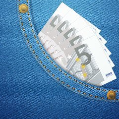 denim pocket and five euro banknotes