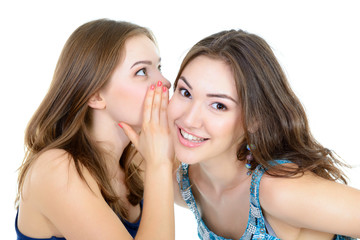 woman's secret, two young beautiful women friends whisper funny