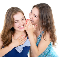 woman's secret, two young beautiful women friends whisper news