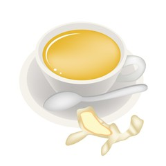 Ginger Tea with Honey in Coffee Cup