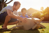 boy father toy aeroplane