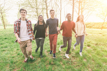 Multiethnic Group of Teenagers Walking at Park