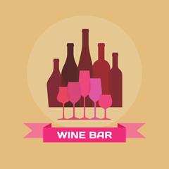 Wine Bottles and Glasses - Illustration