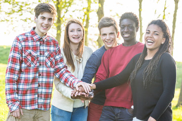 Multiethnic Group of Teenagers, Teamwork Concept