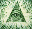 Dollar USA,  pyramid,  eye. Extreme closeup.Macro