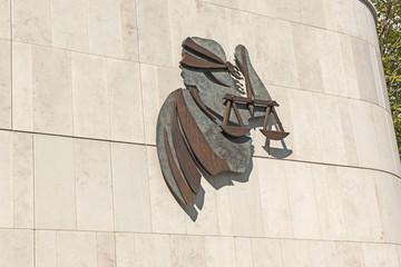Gerechigkeitssymbol beim Kriminalgericht in Dublin