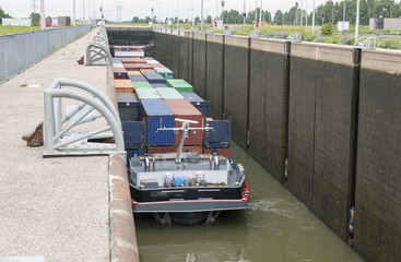 ship in lock in netherlands