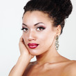 Beauty portrait of young mulatto fresh fashion woman with beauti