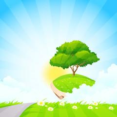 Green Tree on Island