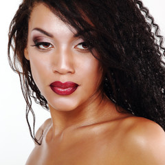 Beauty portrait of young mulatto fresh fashion woman with beauti