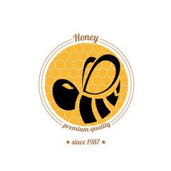 vector  bee icon on honey comb background